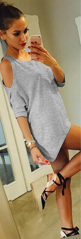 Fashion Dew Shoulder Loose Batwing-Sleeved Blouse