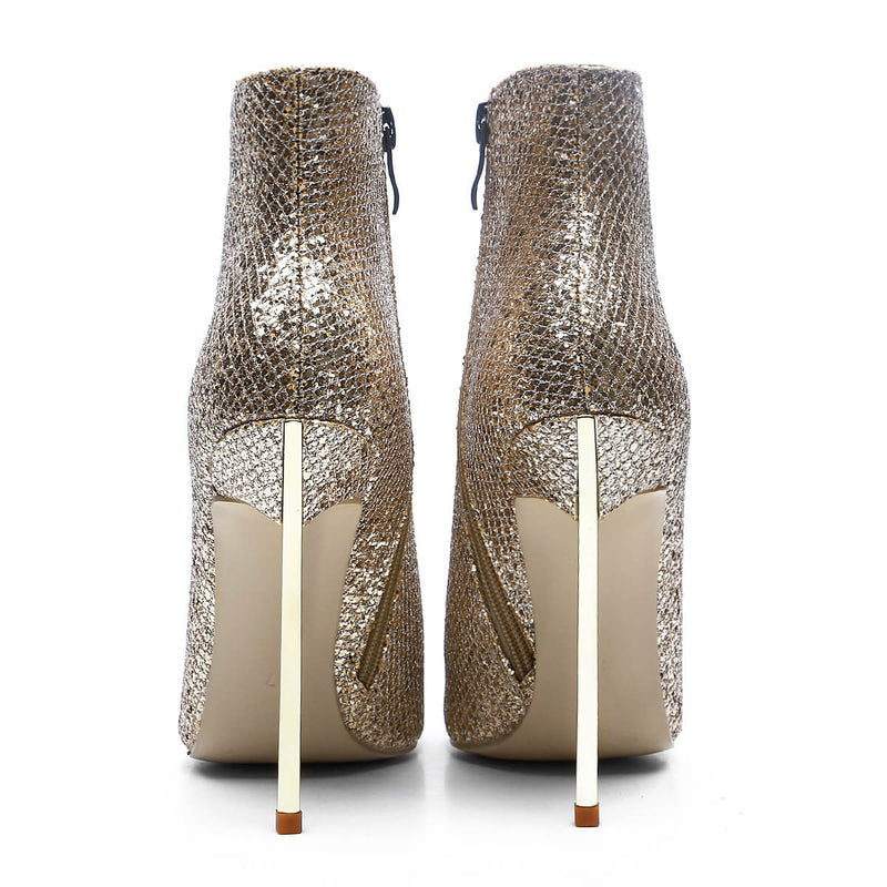 High Stiletto Heel Glitter Pointed Toe Ankle Boots