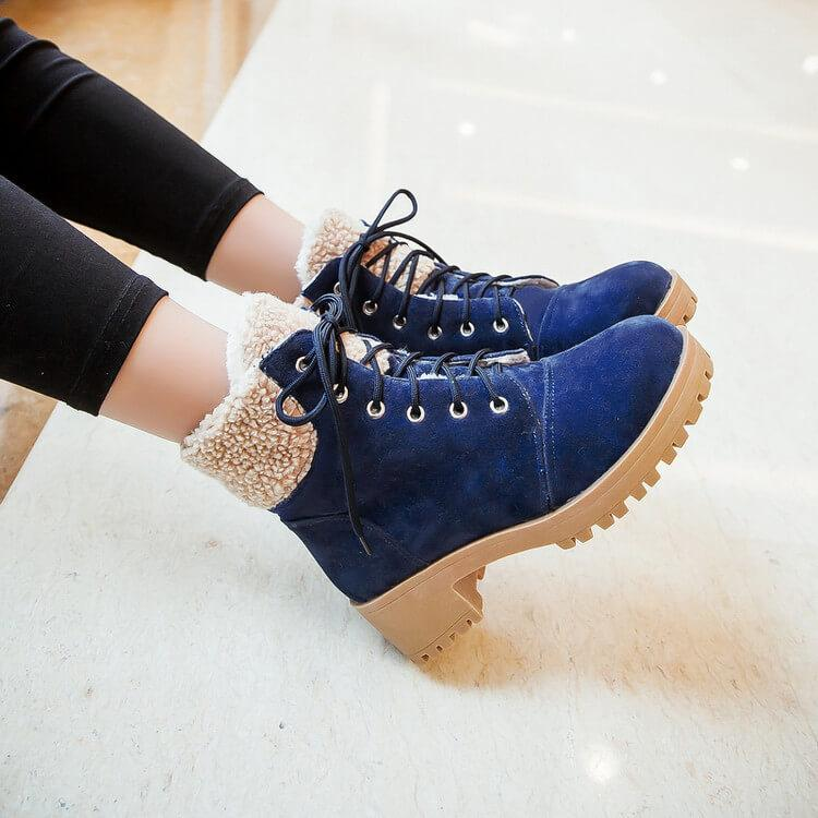 Platform Chunky Heel Lace Up Suede Ankle Boots