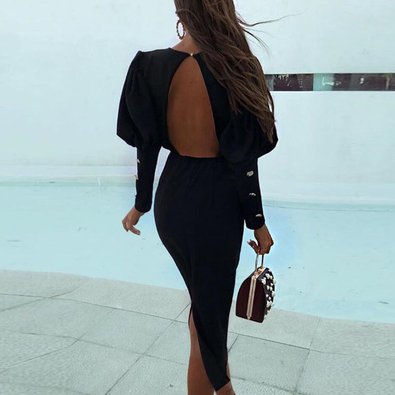 Puff Sleeve Backless Slit Bodycon Dress