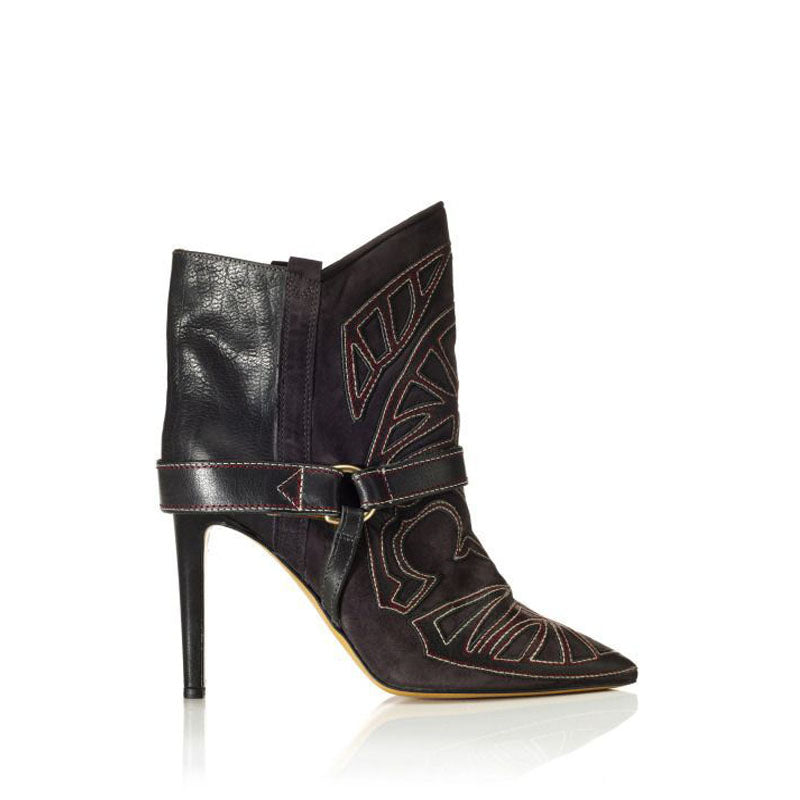 Leather Embroidery Pointed Toe High Heel Ankle Boots