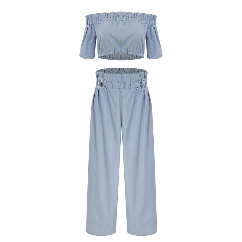 Denim Flapper Loose High Waist Short Sleeve Pants Sets