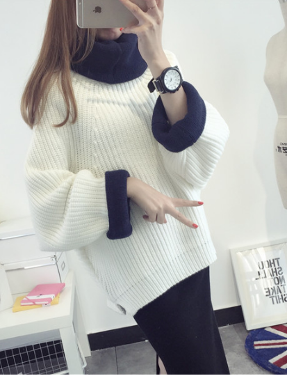 Korean Solid Color Knit Big Pullover Splicing Sweater - May Your Fashion - 1