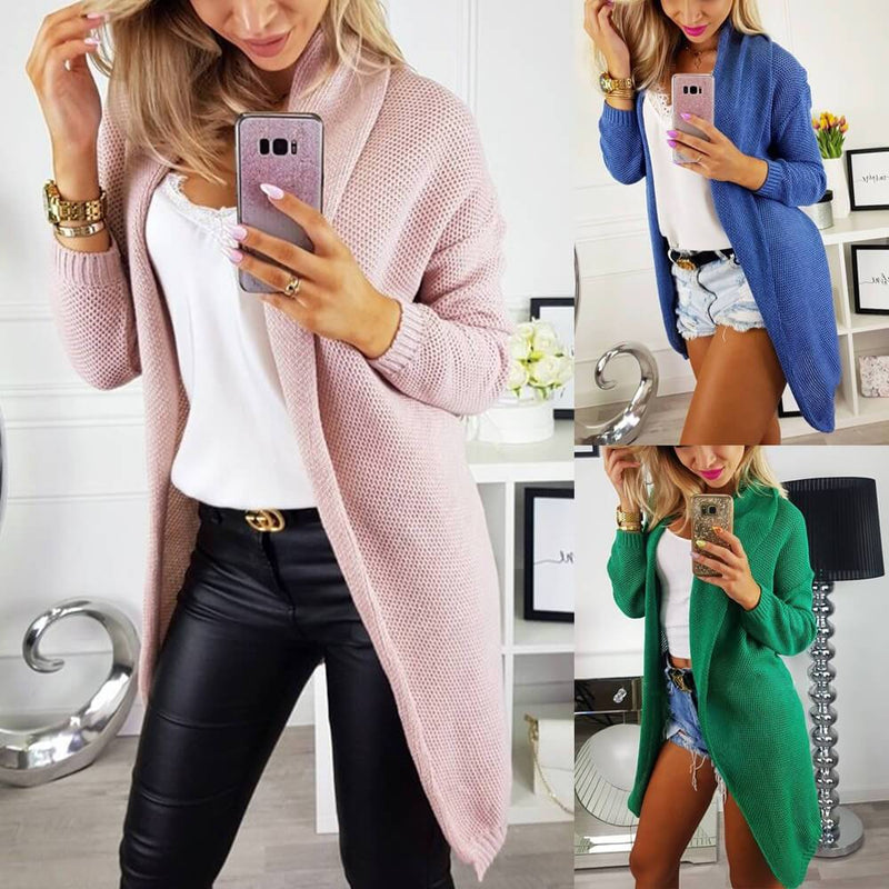 Solid Open Front Knit Cardigan Sweater