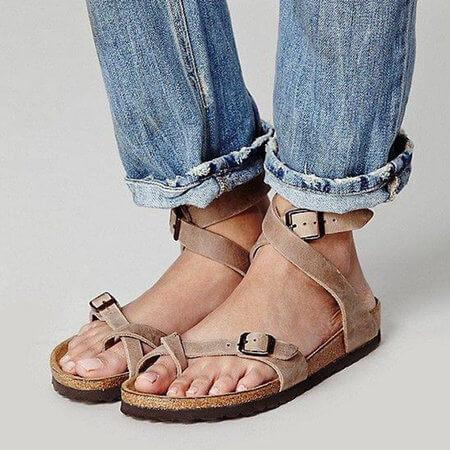 Leather Strap Thong Flat Sandal