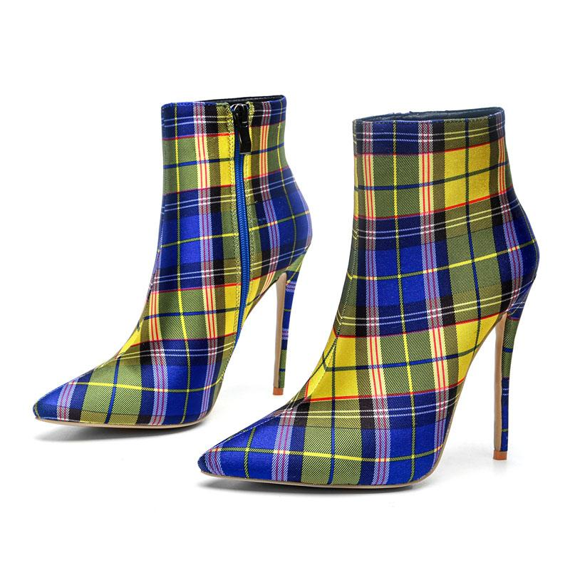 Color Block Plaid Pointed Toe High Heel Calf Boots