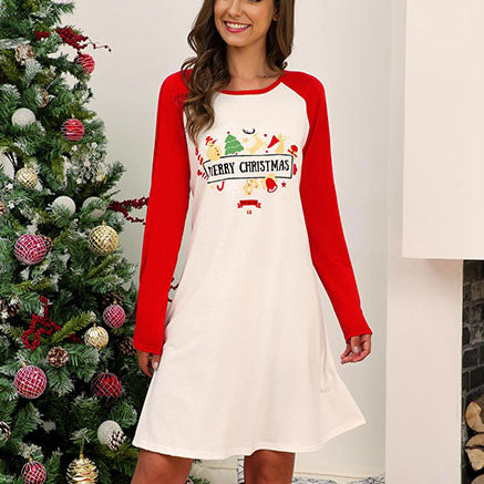Christmas Colorblock Long Sleeve Print Dress