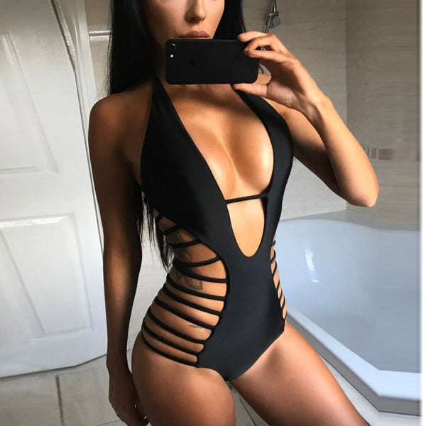Hollow Out Bandage One Piece Monokini