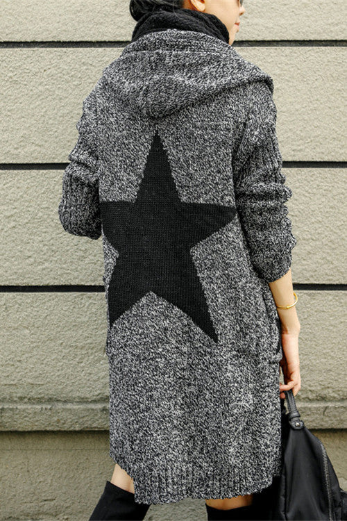 Long Sleeves Print V-neck Long Hooded Cardigan