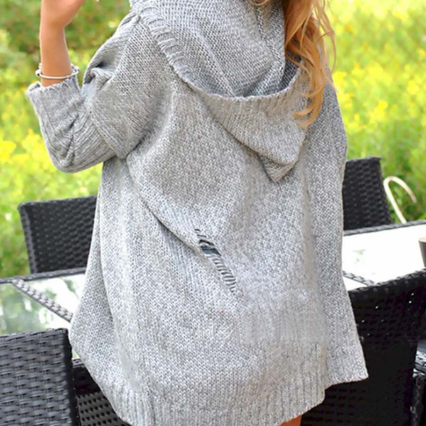 Distressed V Neck 3/4 Sleeve Hoodie Sweater