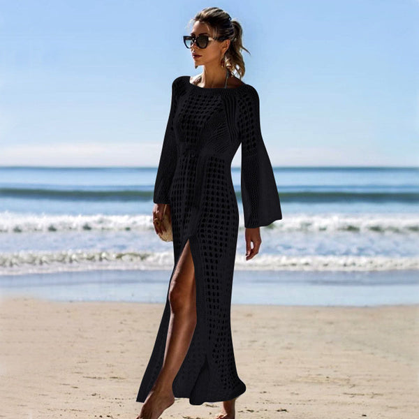 Hollow Out Cover Up Slits Beach Dress