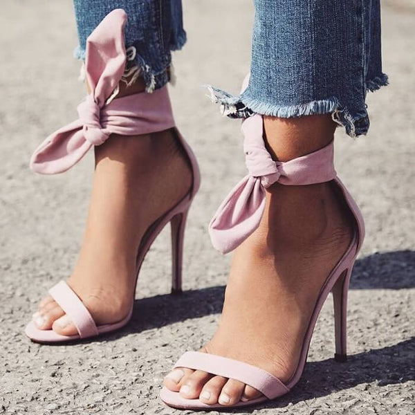 Stiletto High Heels Bow Open Toe Sandals