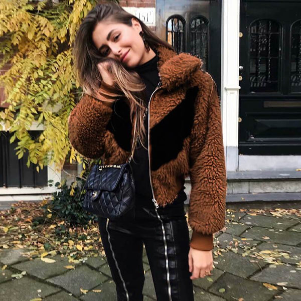 Brown Chevron Teddy Jacket