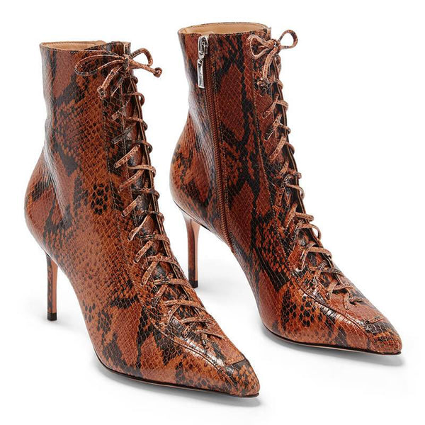 Sexy PU Snakeskin Point Toe Strap High Heel Ankle Boots