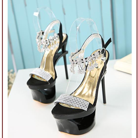 Shinning Rhinestone Cut Out High Platform Stiletto Heel Sandals - MeetYoursFashion - 3