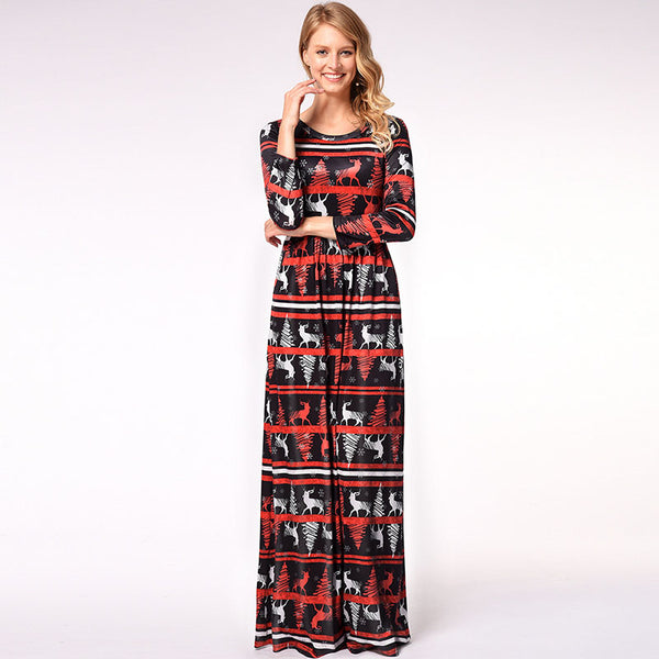 Christmas Print 3/4 Sleeve Maxi Dress
