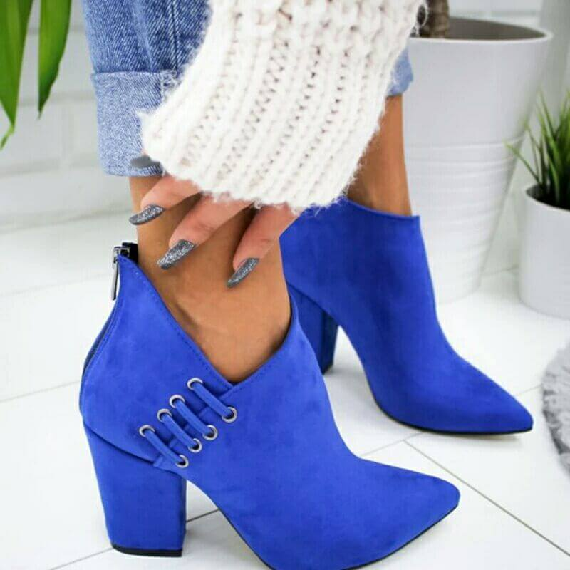 Suede Pointed Toe High Chunky Heel Ankle Boots