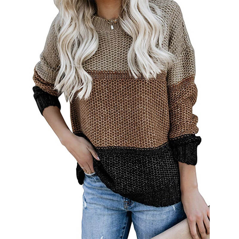 Round Neck Stripe Loose Long Sleeve Women Sweater