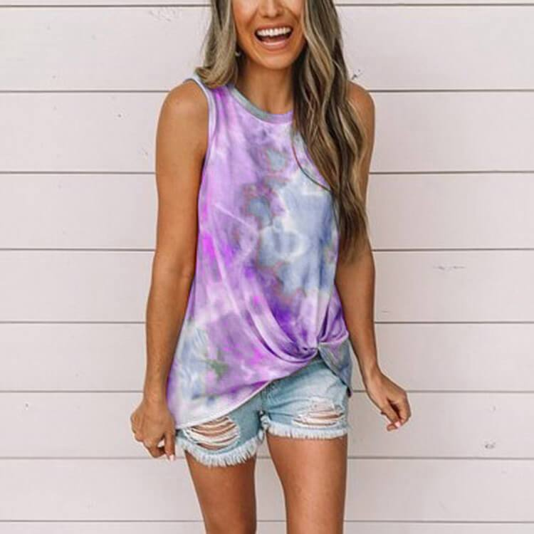 Casual Tie Dye Sleeveless Loose Tank Top T-shirts