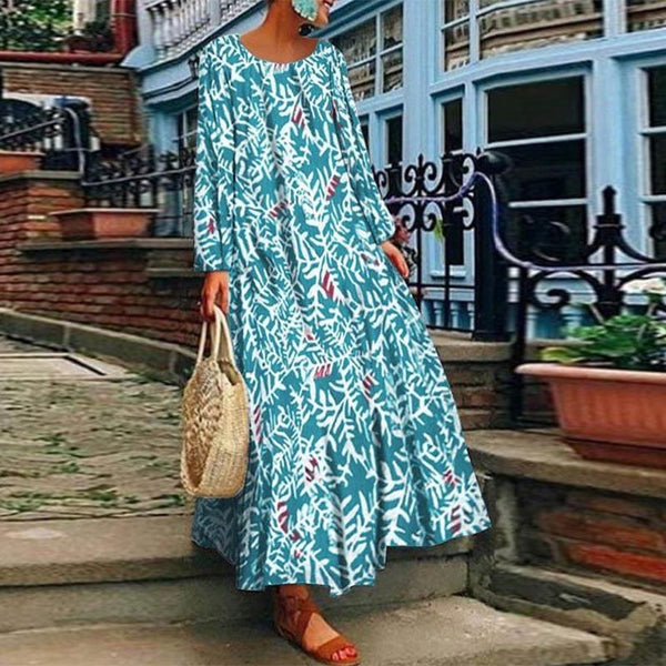 Printed Loose Long Sleeve A Line Dress