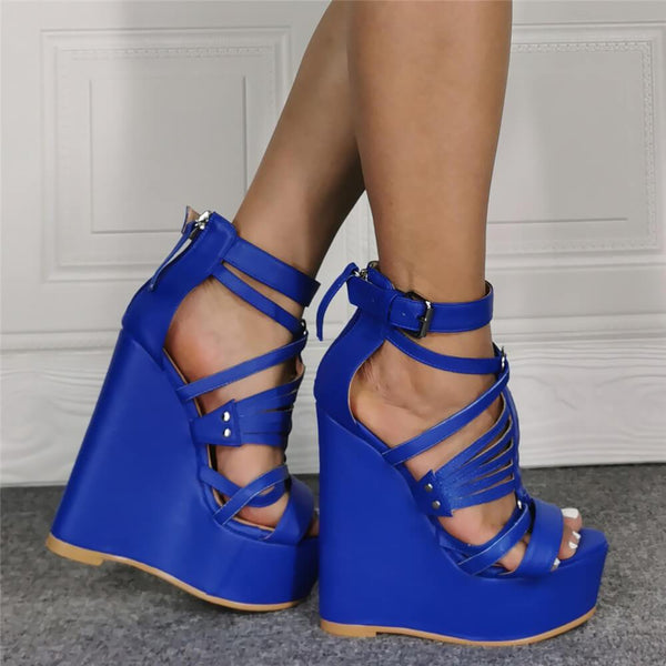 Blue PU Platform Wedge Open Toe Sandals