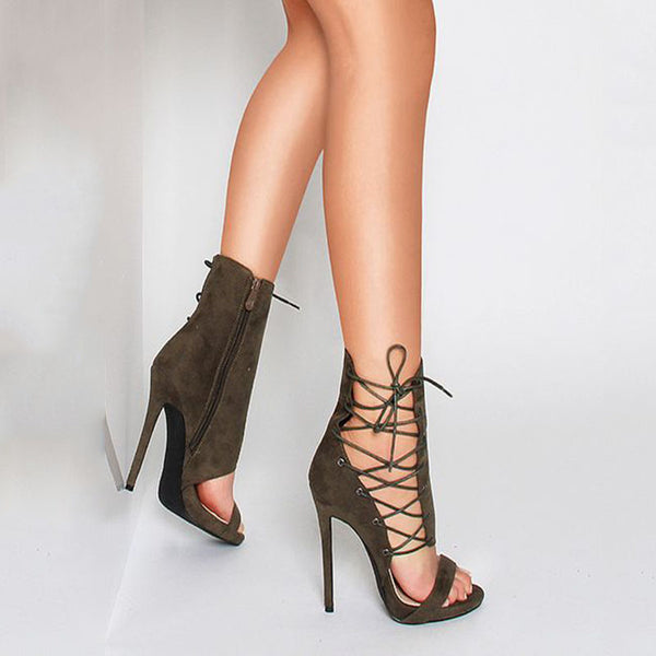 Army Green Strap Cutout Open Toe High Heel Sandals