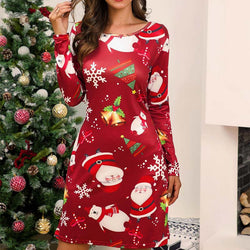 Christmas Scoop Neck Print Short Dress