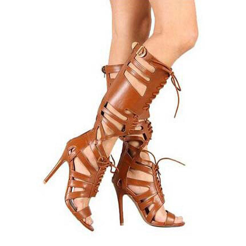 Leather Cutout Strap Cutout High Heel Knee High Sandals