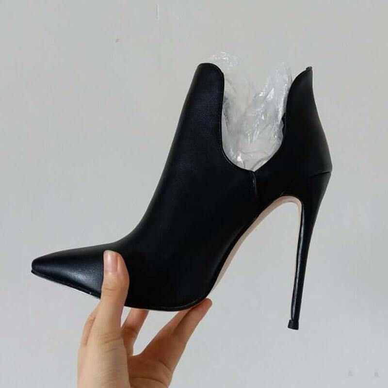 Sexy Leather Cutout Point Toe Stiletto High Heel Pumps
