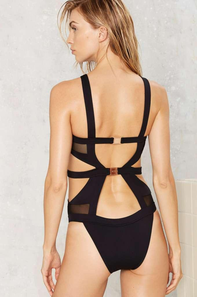 Hollow Out Mesh Patchwork Sexy One Piece Swimwear