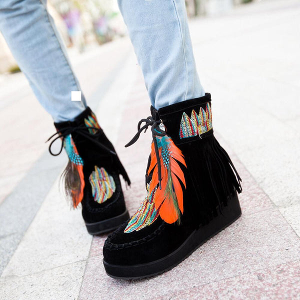 Wedge Suede Embroidery Embellished Ankle Boots