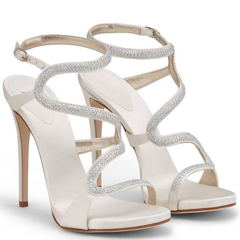 Sexy Leather Rhinestone Buckles High Heel Sandals