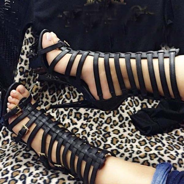 Black Leather Cutout High Heel Sandals