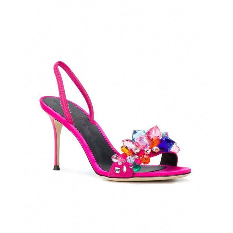 Party Rhinestone Patchwork Open Toe High Heel Sandals
