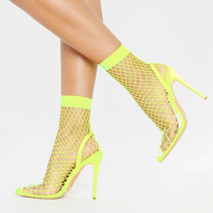 Party Mesh Cutout Bright Color High Heel Sandals