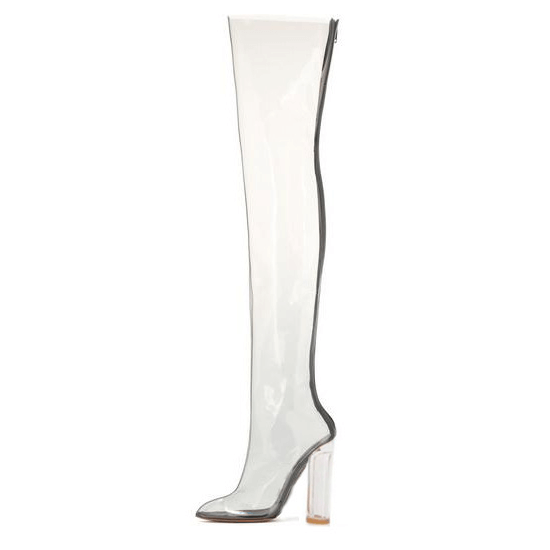 High Heel Transparent Over Knee Boots