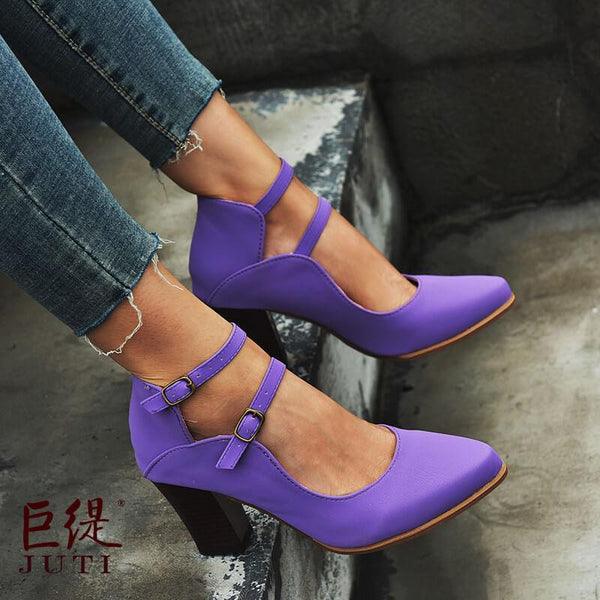 Buckle Leather Point Toe Chunky High Heels