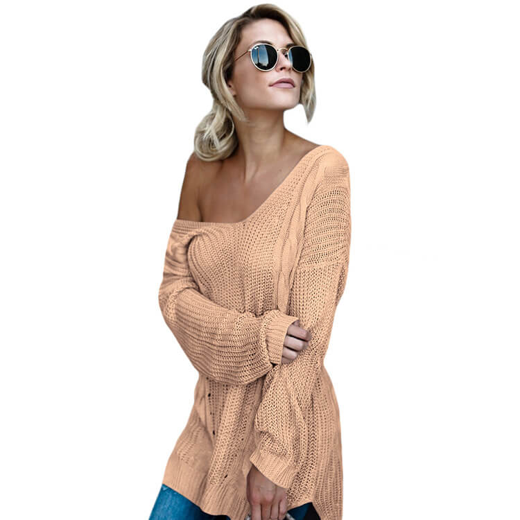 V-Neck Oversized Pure Color Sweater