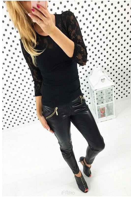 Lace Long Sleeves Patchwork Scoop Slim T-shirt