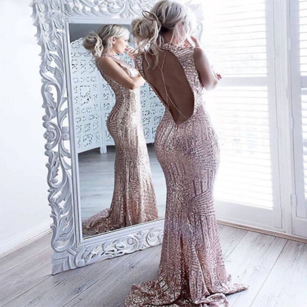Sequins Open Back Sleeveless Maxi Dress