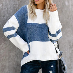 Geometric Knitted Colorblock Pullover Sweater