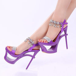 Shinning Rhinestone Cut Out High Platform Stiletto Heel Sandals - MeetYoursFashion - 1