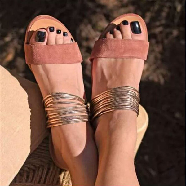 Summer Suede Low Heeled Open Toe Sandals