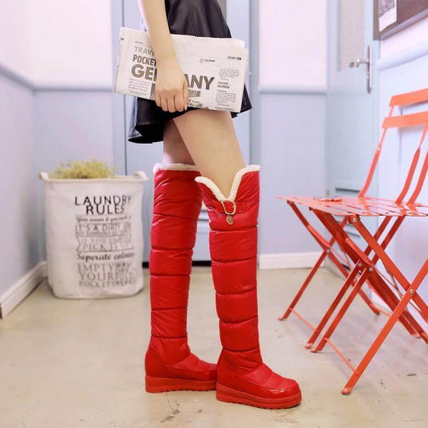 Platform Flat Round Toe Over Knee Snow Boots