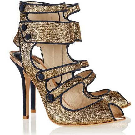 Gold High Heel Cutout Buckle Sandals
