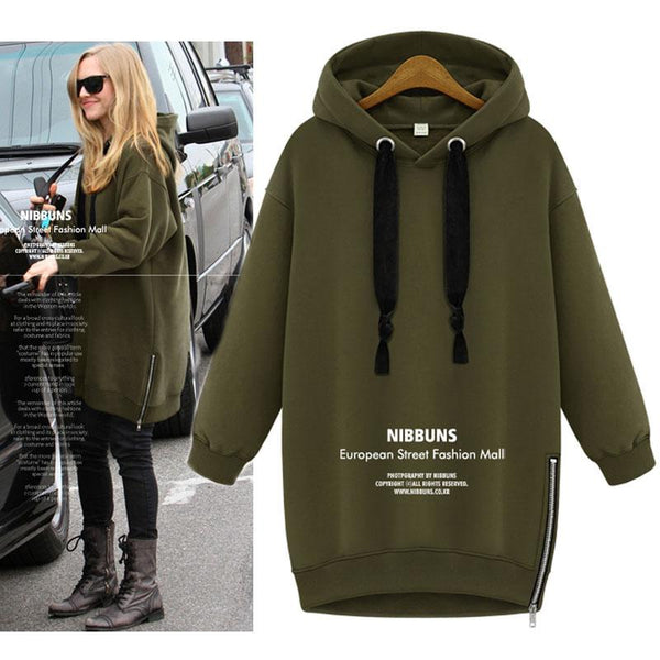 Side Zipper Solid Color Long Loose Hoodie