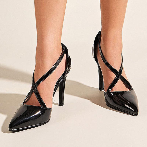 Sexy Black Patent Leather Pointed Toe High Heels