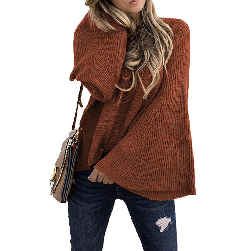 Crew Neck Bell Sleeve Pullover Sweater