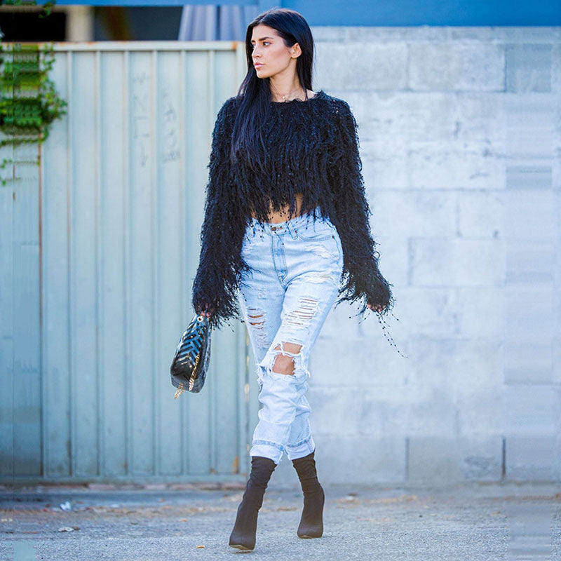 Fringe Pullover Cropped Sweater