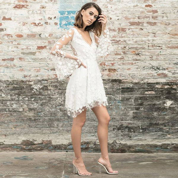 White Lace Sheer Wide Sleeve Backless Dress